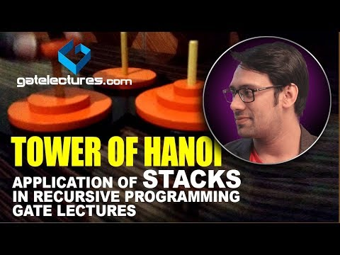 Towers of Hanoi - Application of Stacks in recursive programming gate lectures computer science