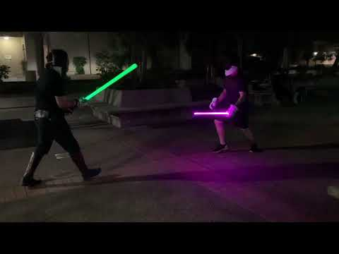 Aggressive lightsaber sparring and training.