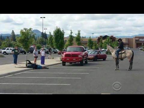Cowboy lassoes would be bike thief in Walmart parking lot