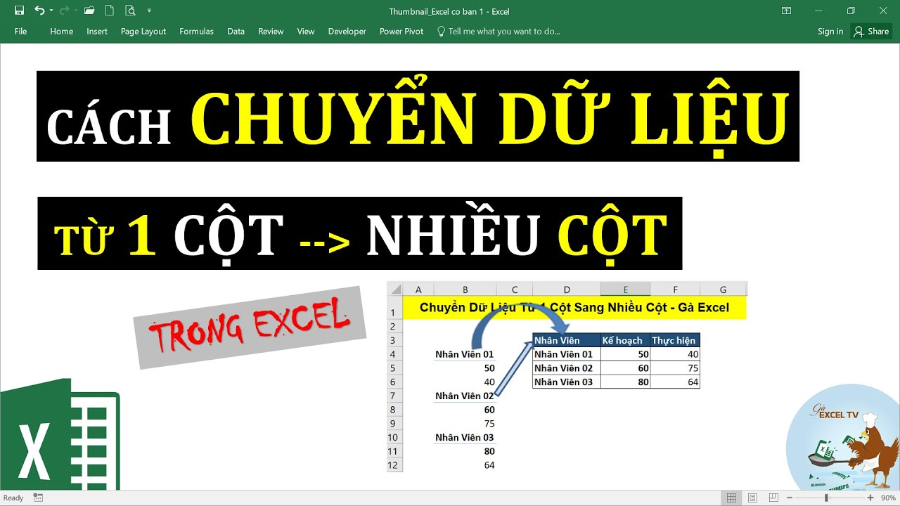 Cách chuyển dữ liệu từ 1 cột sang thành nhiều cột trong Excel