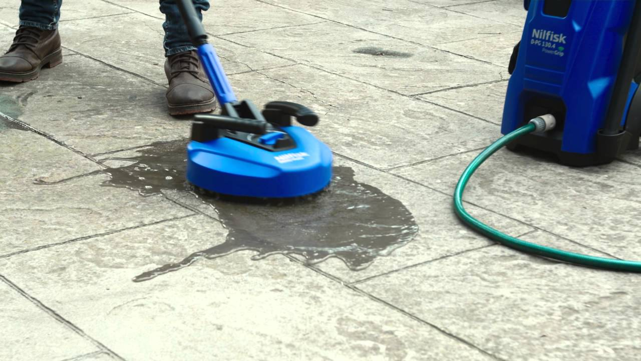 Nilfisk PowerGrip Cleaning Patio - YouTube