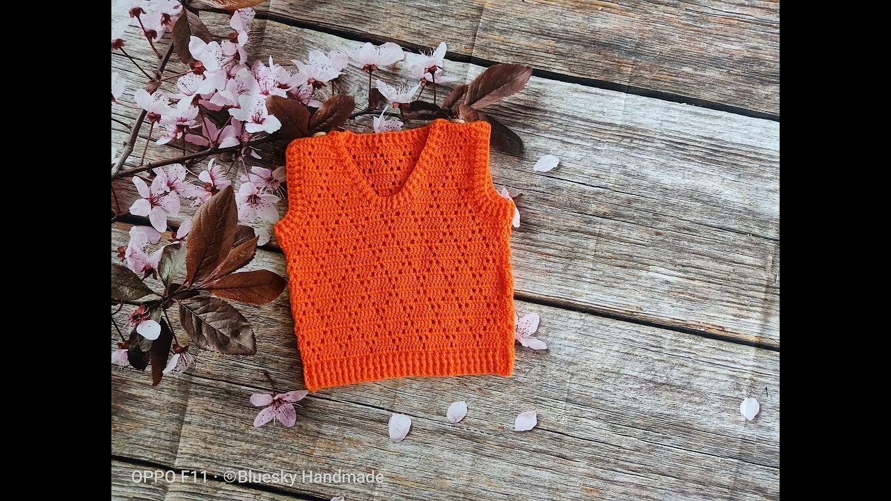 Hướng dẫn móc áo gile cho bé họa tiết kim cương | Crochet vest | Bluesky Handmade (P1)