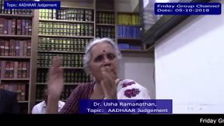 Dr. Usha Ramanathan, Topic: AADHAAR Judgement