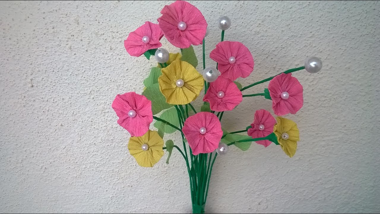 How To Make Crepe Paper Flowers For Decoration Diy Youtube