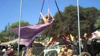 Outdoor aerialist performs to Blood, Sweat & Tears