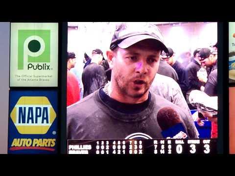 Braves Locker Room Celebration 10-3-10 Wildcard Part 2 Wagner interview.MOV