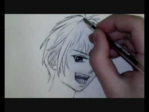 comment dessiner un visage manga de gar on tutoriel youtube. Black Bedroom Furniture Sets. Home Design Ideas