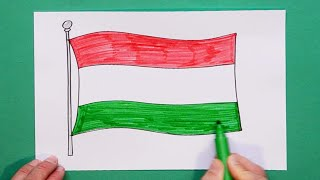 How to draw and color the National Flag of Hungary