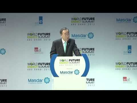 Ban Ki Moon, Secretary General, United Nations, World Future Energy Summit, Abu Dhabi