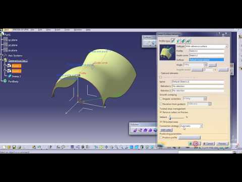 SWEEP SURFACE ALL 21 TYPES CATIA V5
