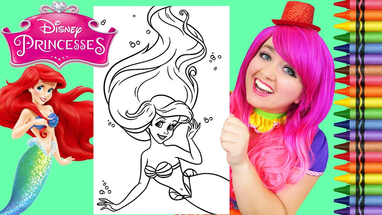 Coloring Ariel The Little Mermaid Disney Giant Coloring Page Crayola Crayons Kimmi The Clown Youtube