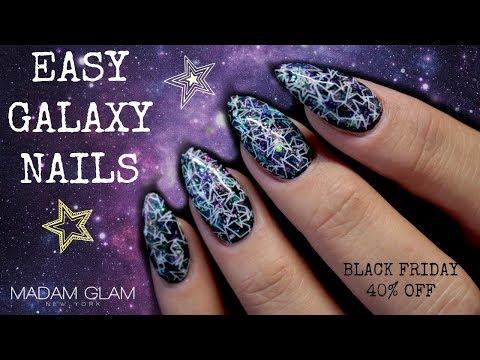 🌌EASY PEASY GALAXY NAILS | MADAM GLAM BLACK FRIDAY 2018 40% OFF!!🌌