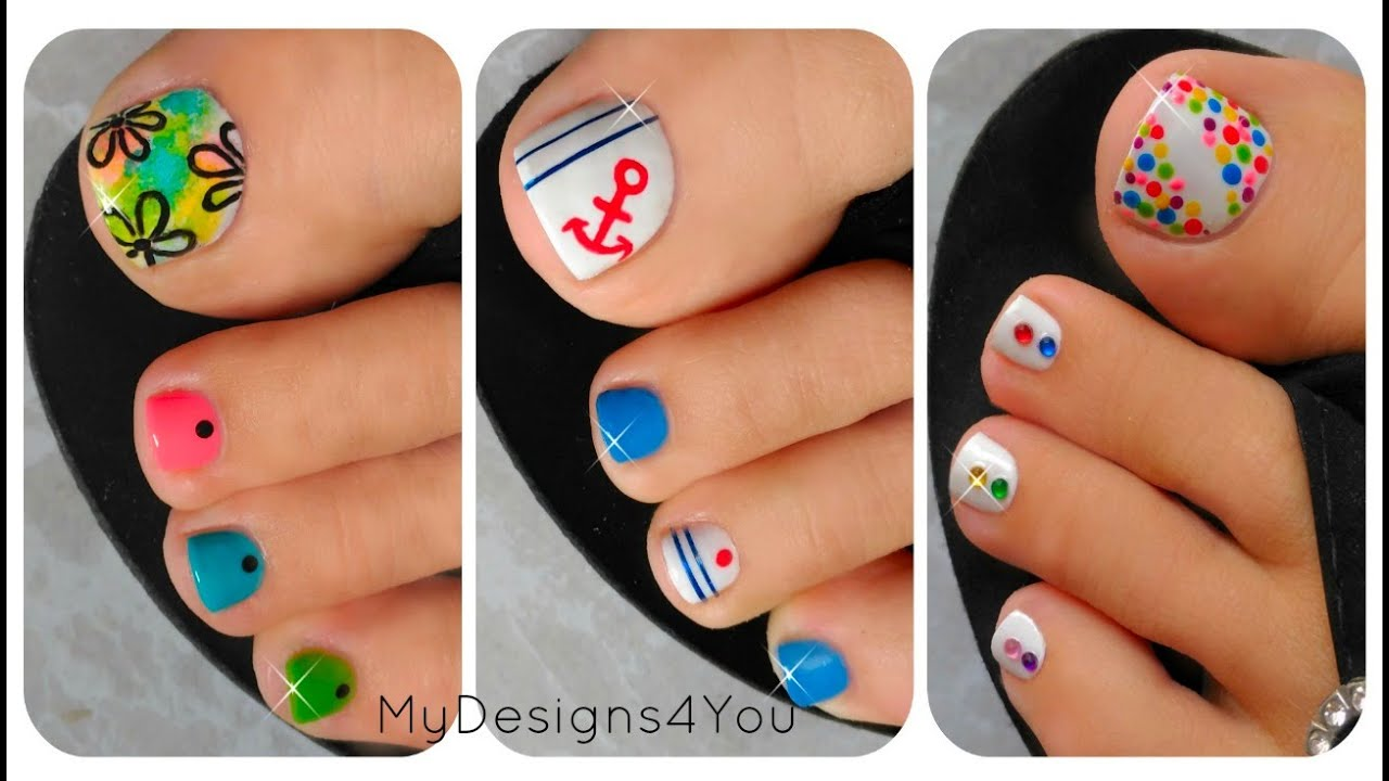 3 Easy Summer Toenail Designs - YouTube