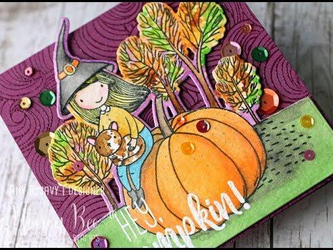 Hey Bee Stamps Hey, Pumpkin!  Missi Gold Watercolor  AmyR Halloween 2017  #9