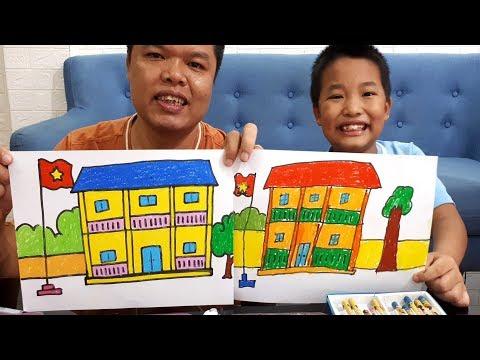 Dạy bé vẽ tranh ngôi trường của em và tô màu    My school Drawing and coloring