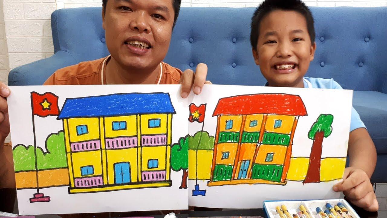 Dạy bé vẽ tranh ngôi trường của em và tô màu || My school Drawing and coloring