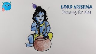 How to Draw Lord Little Krishna Easy with Color Pencil Drawing for Kids step by step