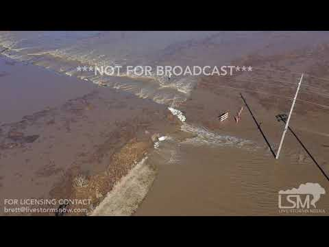 3-20-2019 Craig, MO town flooded from aerial drone view