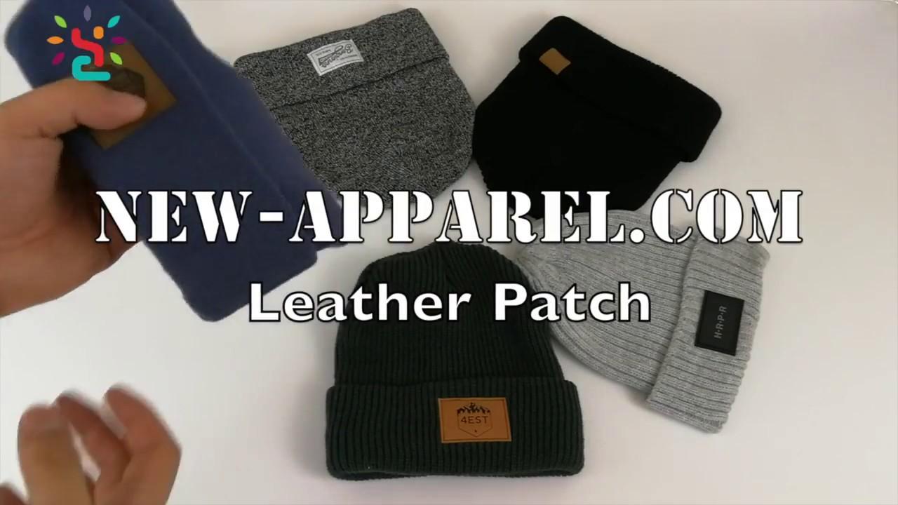 custom leather patch logo winter beanie hat1 - YouTube 7b02b4d079e