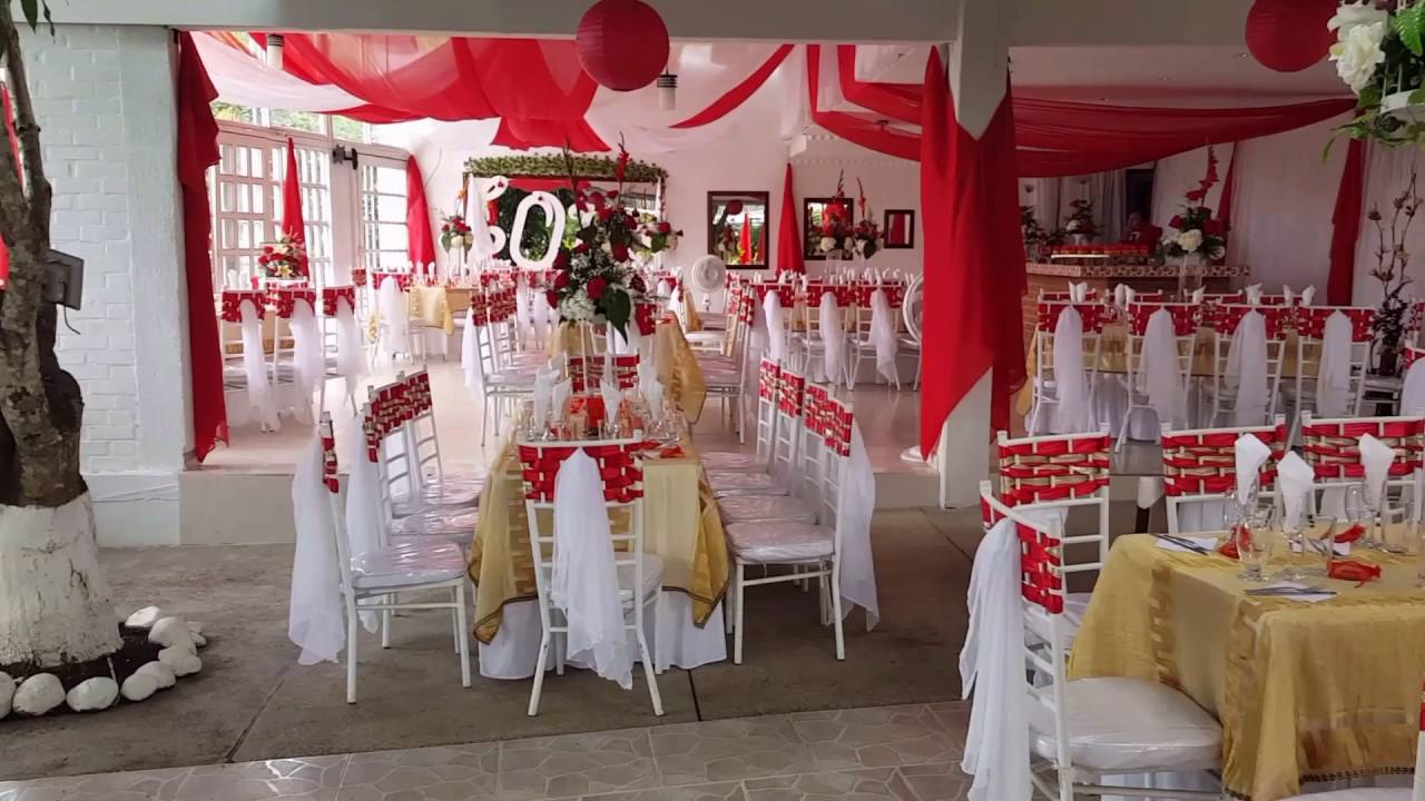 Boda decoraci n rojo casa blanca sal n de eventos youtube for Arreglos para boda en salon