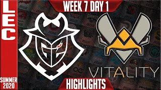 G2 vs VIT Highlights | LEC Summer 2020 W7D1 | G2 Esports vs Team Vitality