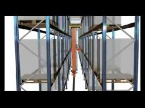 Ciclo simple almacenamiento SF transelevadores para pallets monocolumna.