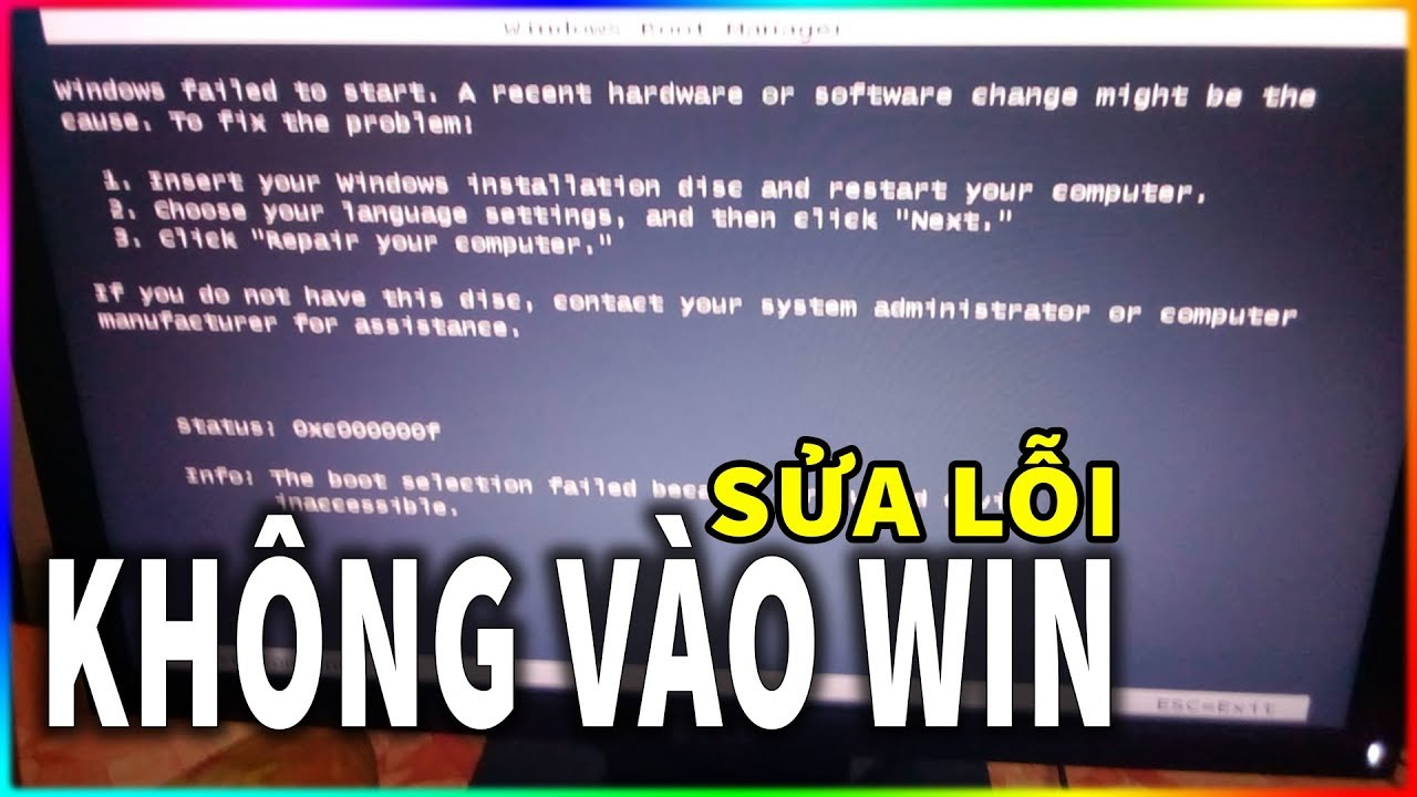 Sửa lỗi Windows Boot Manager Win 7