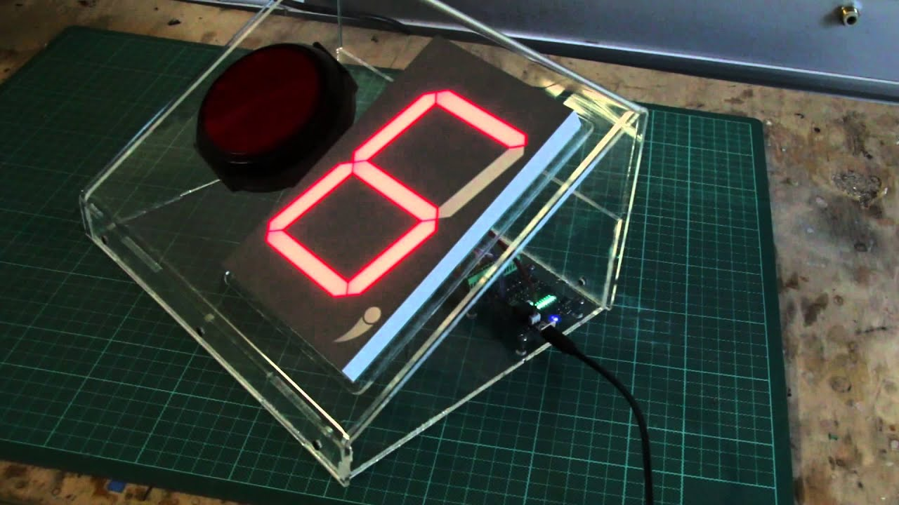 Large 7 Segment Display Driven From Usb Digital I O Youtube