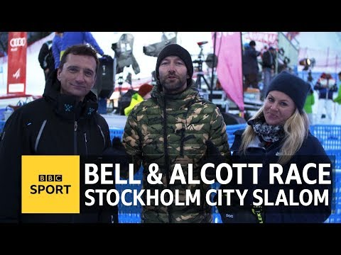 Ski Sunday's Graham Bell & Chemmy Alcott race Stockholm City Slalom - BBC Sport