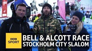Ski Sunday's Graham Bell & Chemmy Alcott race Stockholm City Slalom - BBC Sport
