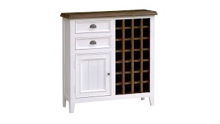 Bergere Distressed Painted Sideboard With Wine Rack - Pinesolutions