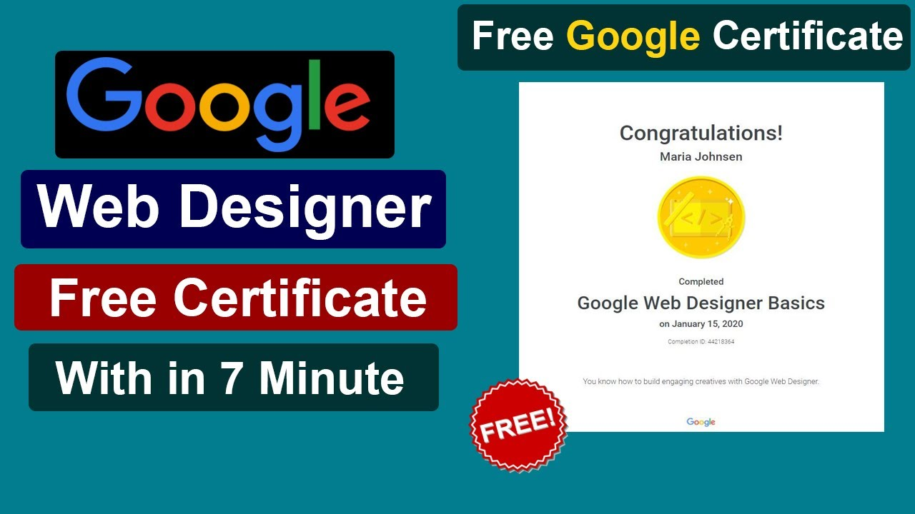 Google Web Designer Free Certification Course Web Development Google Free Certification Course Youtube