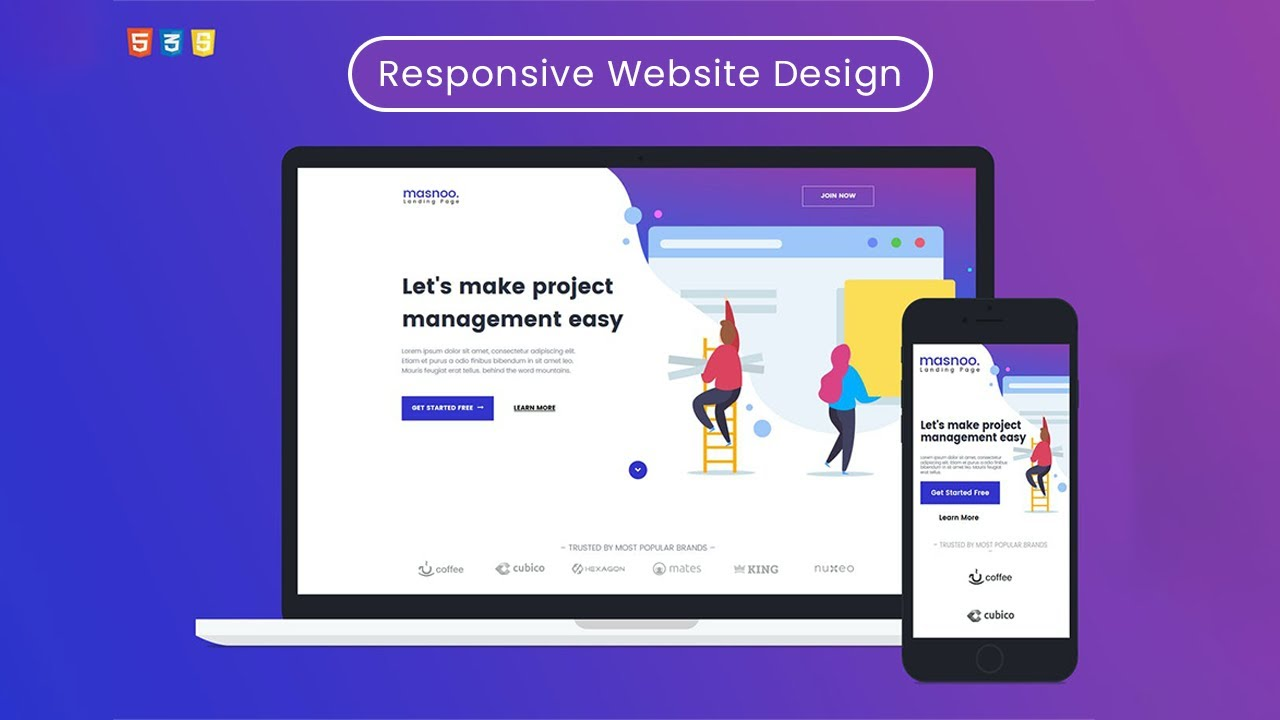 How to make HTML Responsive Website Design in HTML, CSS, Bootstrap and JavaScript