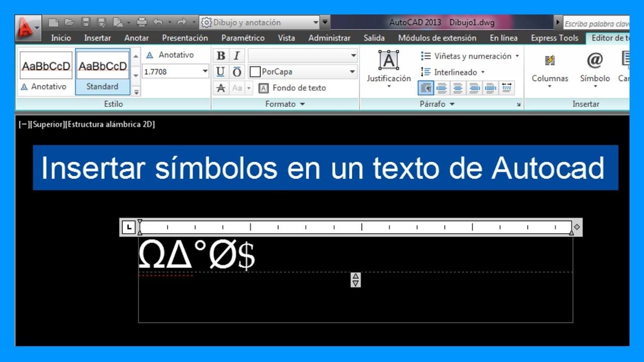 Autocad Insertar Símbolos En Texto Introducir Símbolos En Autocad Tutorial En Español Hd Youtube