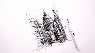 Travel Notes, Paris [03/50] - Pantheon, side view - almost killed my Lamy fountain pen