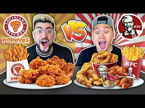 KFC VS. POPEYES FOOD CHALLENGE !! (Most Popular Items on the Menu 🍗🍟)