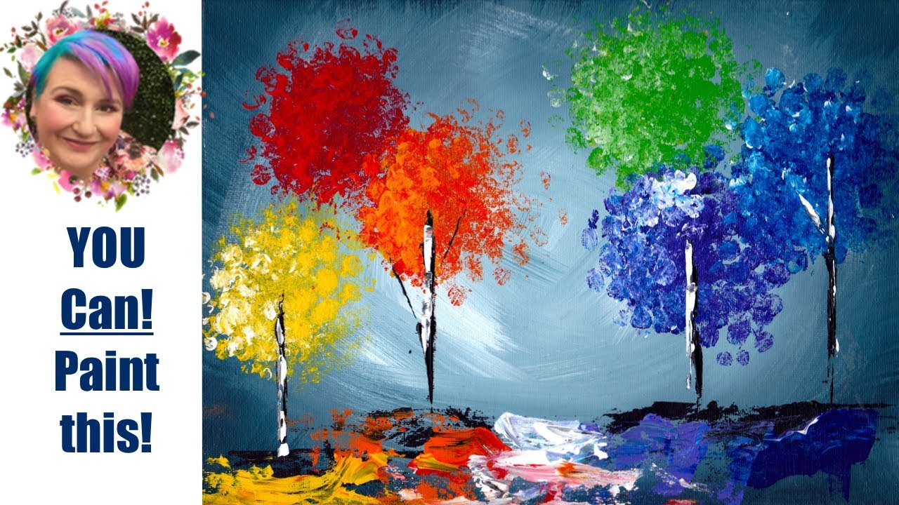 Super simple Bubble Wrap Trick Rainbow Trees Beginners Acrylic Painting - YouTube