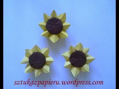 Origami Sunflower Sonecznik Origami Youtube