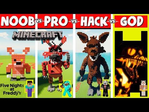 Minecraft Battle: NOOB vs PRO vs HACKER vs GOD: Foxy of the FNaF build challenge in Minecraft.