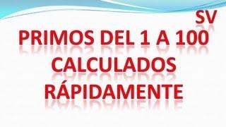 Lista de números primos del 1 al 100 por el método más rápido que existe.