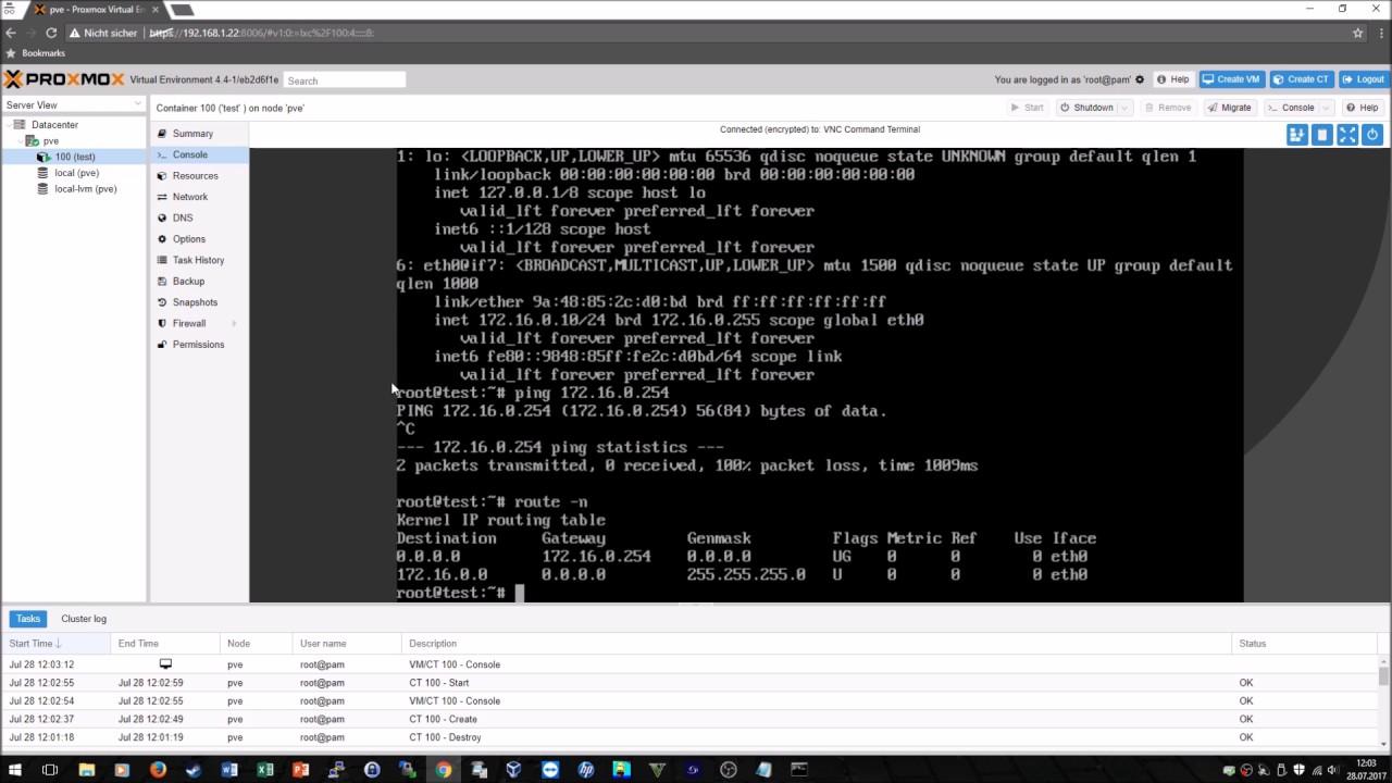 Connect LXC on Proxmox to network - Proxmox LXC Container mit Netzwerk  verbinden