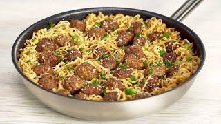 Вкусный ужин за 25 минут! Мясные фрикадельки с лапшой в азиатском стиле. Рецепт от Всегда Вкусно!