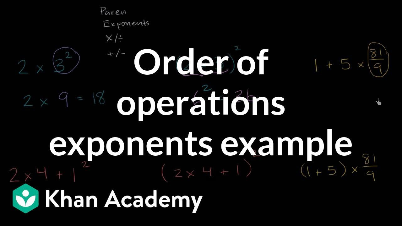 medium resolution of Order of operations examples: exponents (video)   Khan Academy