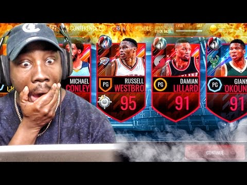 CRAZY PLAYOFFS PACK OPENING & 95 KING WESTBROOK! NBA Live Mobile 16 Gameplay Ep. 101