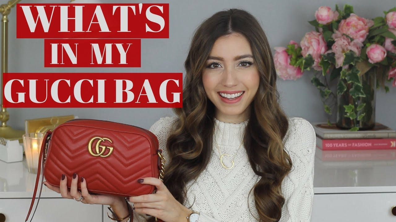 7f545b3df1d What s In My Bag ! Red Gucci Marmont Shoulder Bag + Review - YouTube
