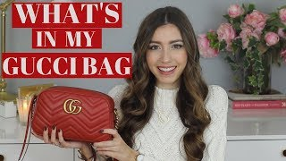 What's In My Bag?! Red Gucci Marmont Shoulder Bag + Review