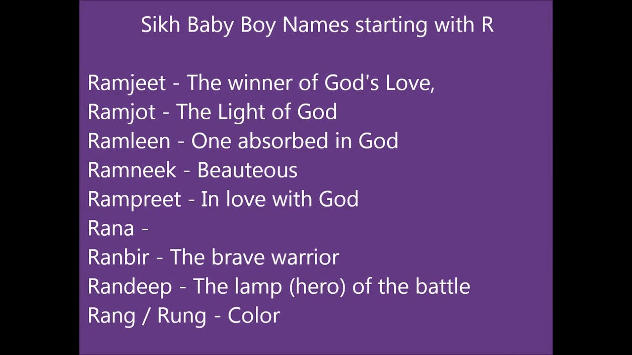 Sikh Baby Boy Names Starting With R Punjabi Boy Names Youtube