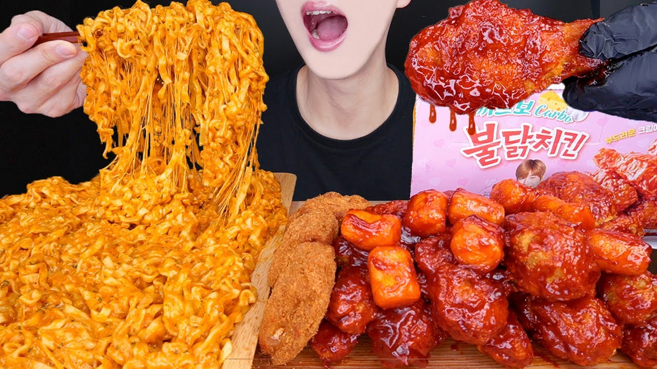 ASMR CARBO FIRE CHICKEN NOODLES CHEESE CUTLET MUKBANG 까르보불닭볶음면 먹방 プルダックポックンミョン チキン 咀嚼音 EATING SOUNDS
