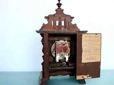 JUNGHANS MUSICAL ALARM Mantel Clock 1910s CASTLE SHAPE Antique Germany RESTORED!