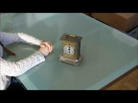antique Junghans alarm clock with music box
